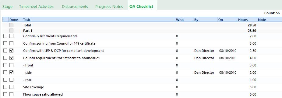 Plan and Track Budgets QA Checklist subtab