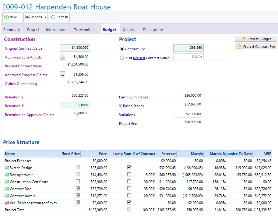 Project Budget with Contract Administration