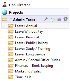 Project Repository Admin Tasks Tree View